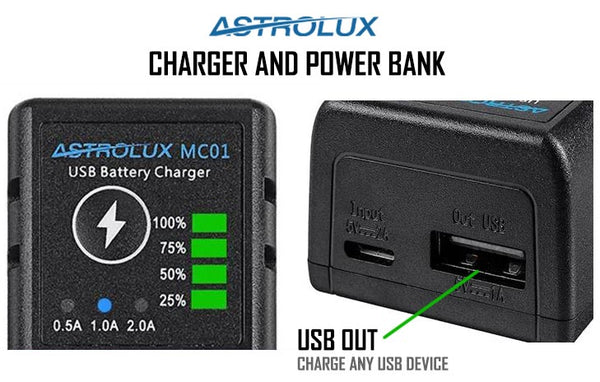 Astrolux 2 in1 18650 USB Battery Charger & Power Bank NZ
