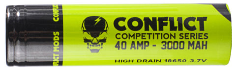 Conflict 18650 40 amp 3000 mAh Competition Series 3.7v Battery