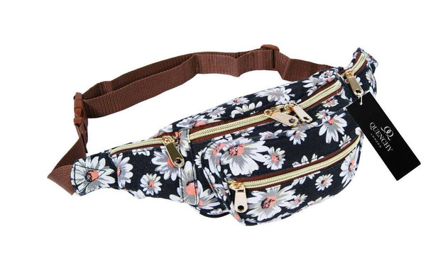 Festival Holiday Bumbag in black floral Print Q4151K