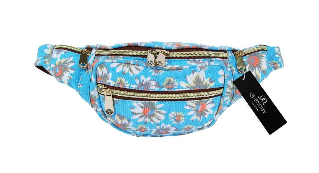 Festival Holiday Bumbag in light blue floral Print Q4151LB
