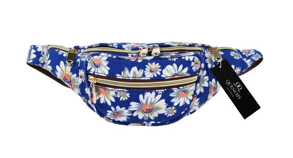 Festival Holiday Bumbag in navy blue floral Print Q4151N