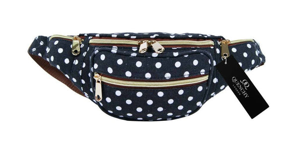 Festival Holiday Bumbag in black polka dot Print Q4152K