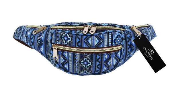 Festival Holiday Bumbag in blue tribal aztec Print Q4154N