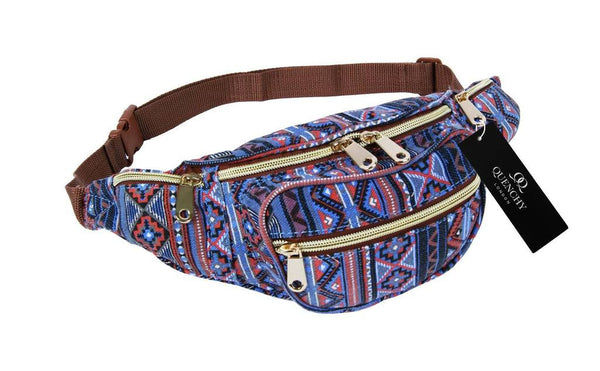 Festival Holiday Bumbag in orange tribal aztec Print Q4154O