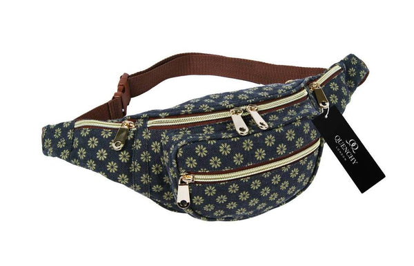 Festival Holiday Bumbag in black wall flower Print Q4155K