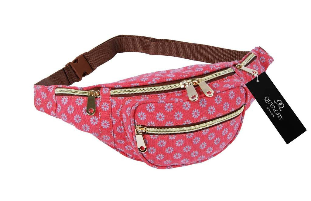 Festival Holiday Bumbag in pink wall flower Print Q4155P
