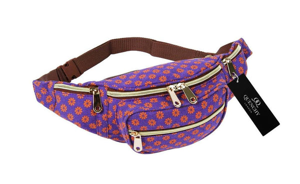 Festival Holiday Bumbag in purple wall flower Print Q4155Pu