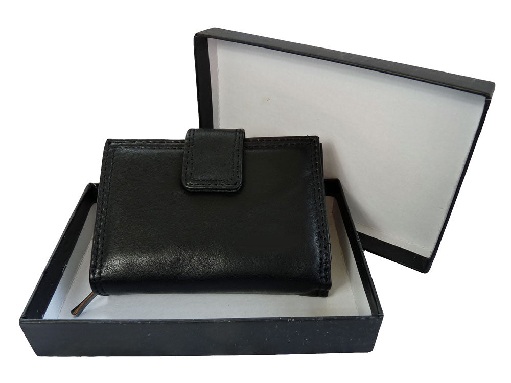 Black Leather Purse Zipped Coins Section QL116