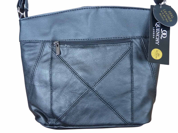 Leather Shoulder Ladies Handbag in Cow Hide Soft Leather - 5 Zipped Pockets - QL741