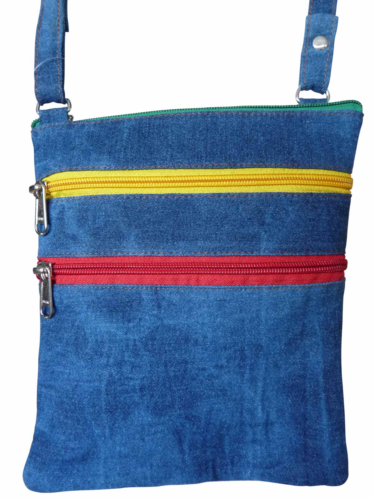 Denim Travel Pouch Rasta Zips RL178DRas