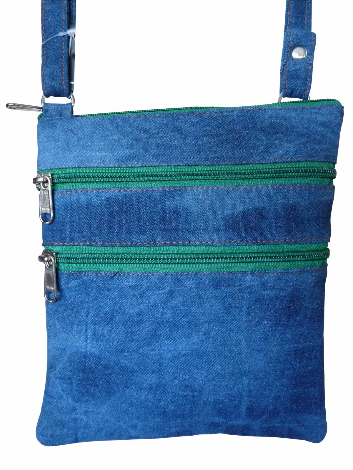 Denim Travel Pouch Dark Green Zips RL178DDGZ