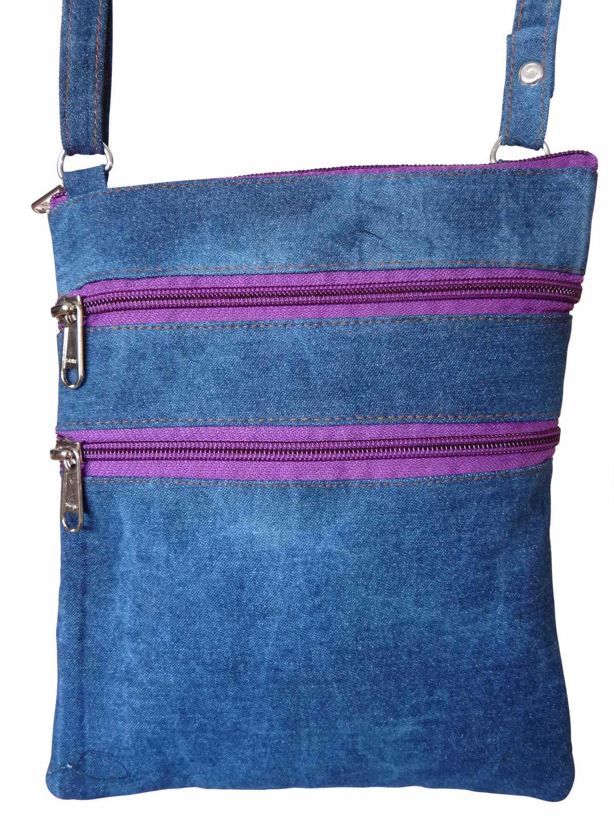 Denim Travel Pouch Purple Zips RL178DPuz