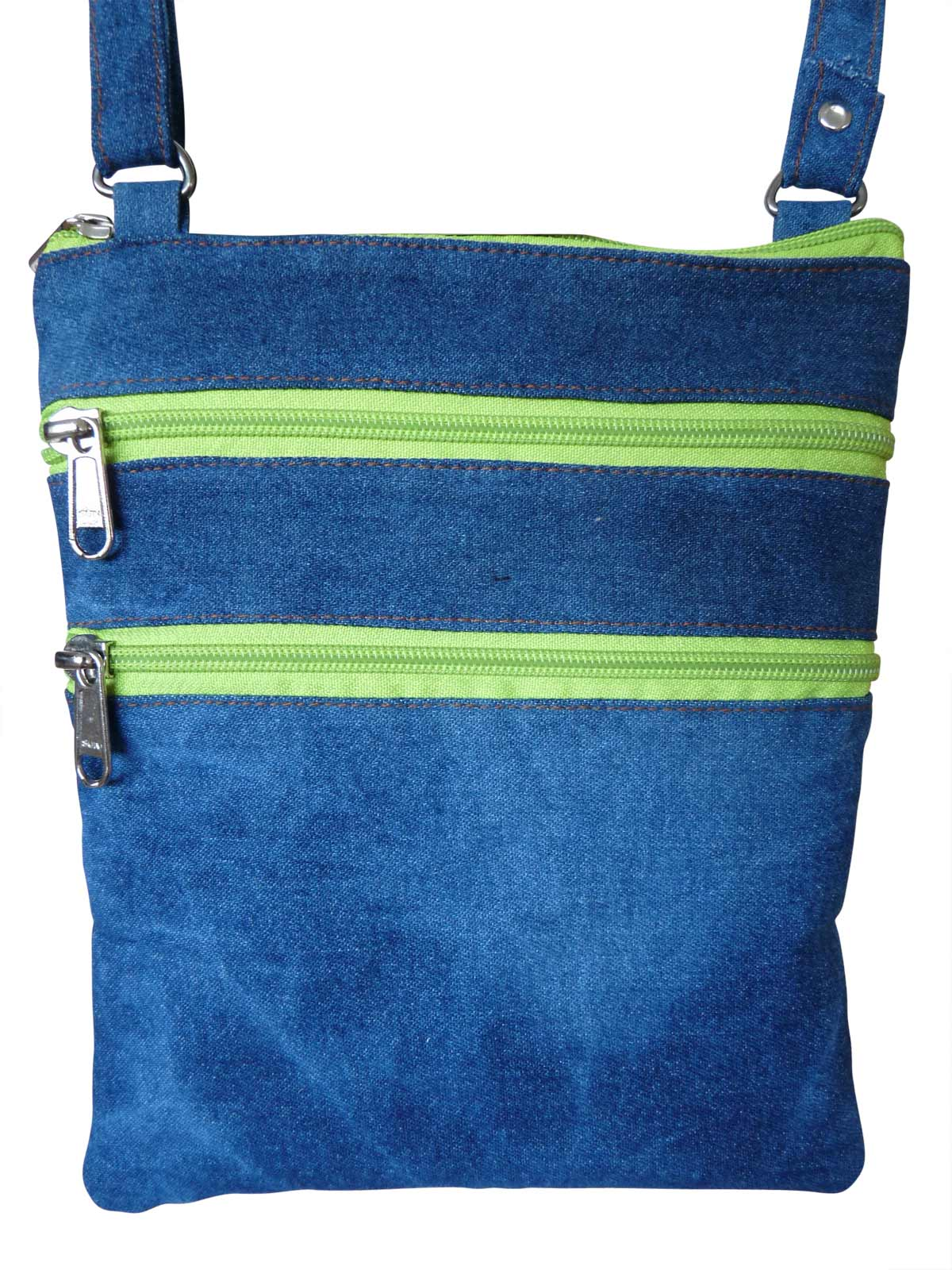 Denim Travel Pouch Light Green Zips RL178DLGZ