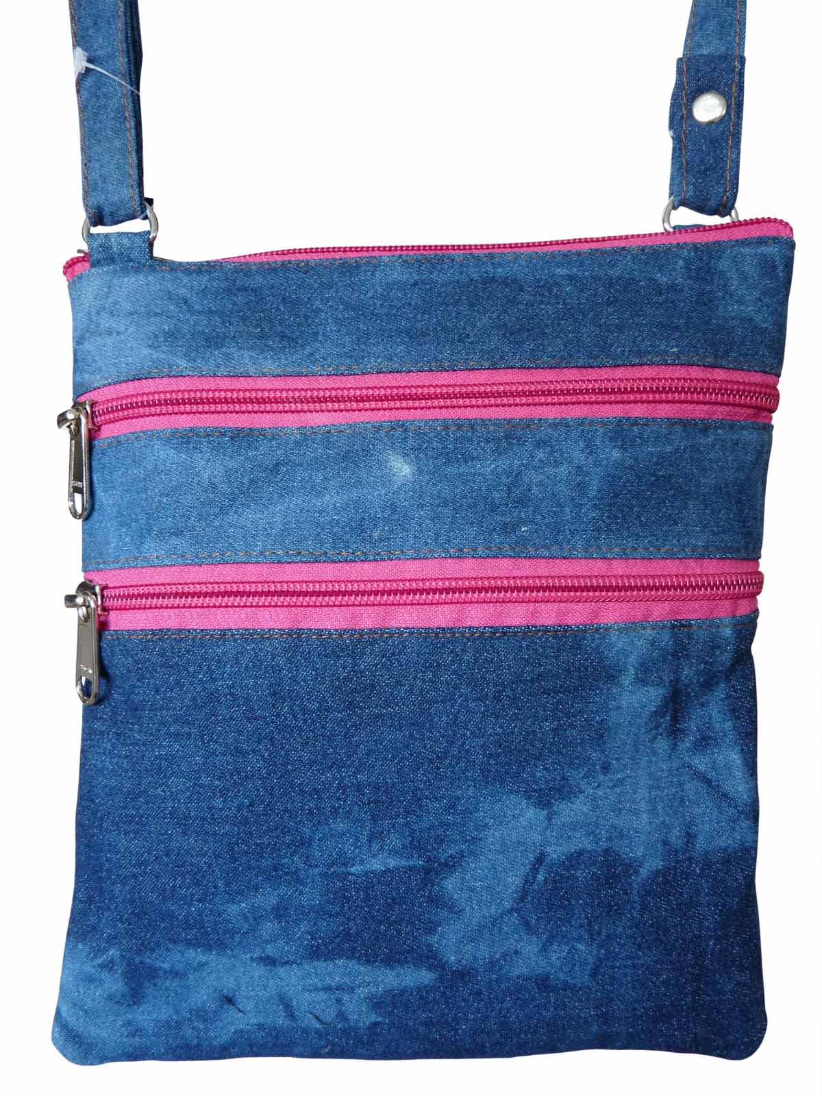 Denim Travel Pouch Pink Zips RL178DPZ