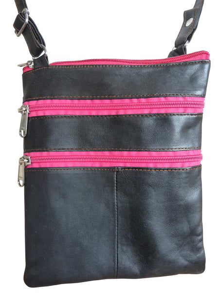 Small Soft Black Leather Travel Bags - Ladies, Man Bag Pouch – 9 Colours
