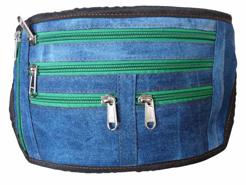 Denim Large XL Bumbag Flat Money Belt Bag Holiday Bumbags