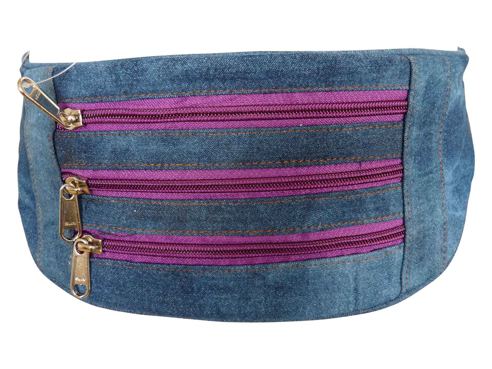 Flat Denim Bumbag RL252DPuZ purple zips