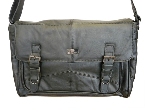 Leather Messenger Shoulder Bag by Roamlite - Mens Ladies Cross Body Business Attache Case