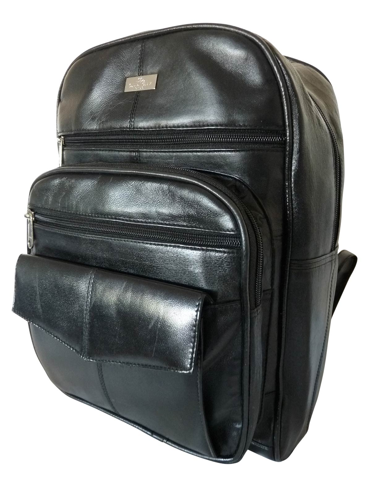 Ladies Black Soft Leather Backpack Bag with 7 Pockets QL192K