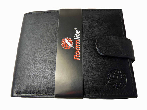 Black Leather Cards Notes and Coins Wallet RL374K inside