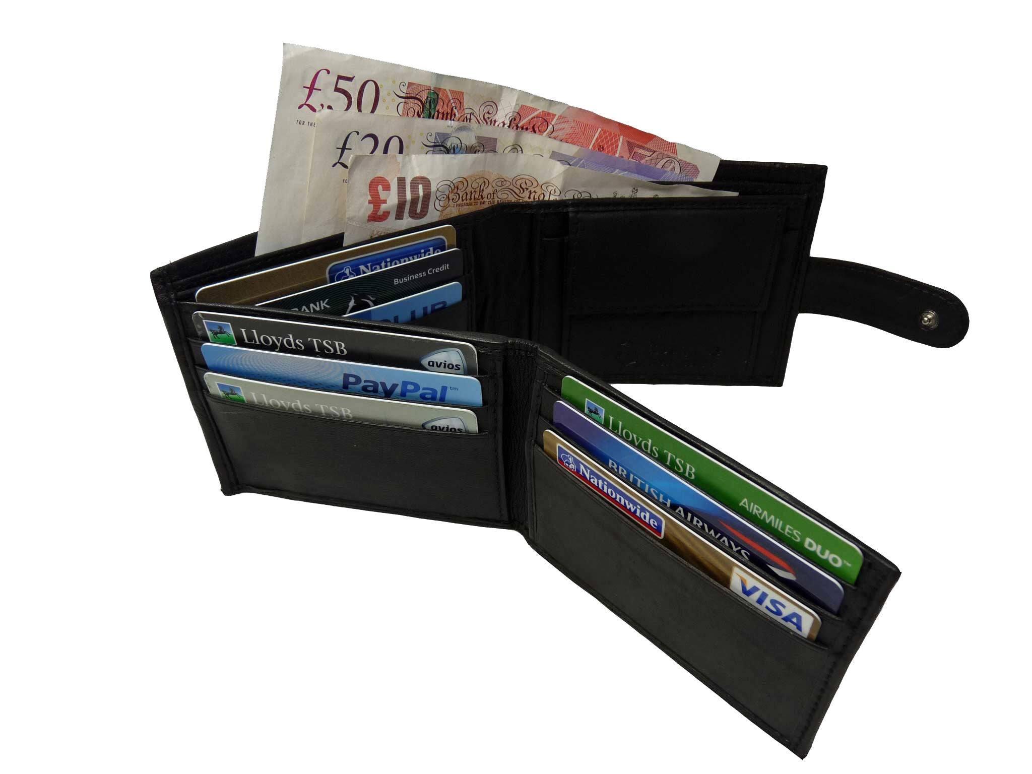 Black Leather Cards Notes and Coins Wallet RL374K inside5