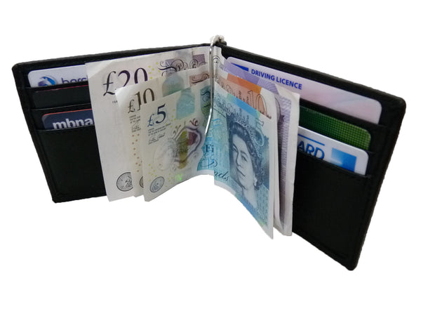 Leather Money Clip RFID Blocking Wallet RL192K open view