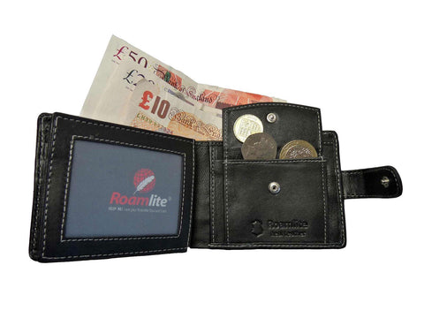 Roamlite Mens Designer Wallet 6 Credit Card Slots Buttoned Coin Pouch RL507M