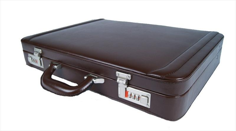 Briefcase Slimline Leather Briefcases in Faux Brown Leather Roamlite RL41B