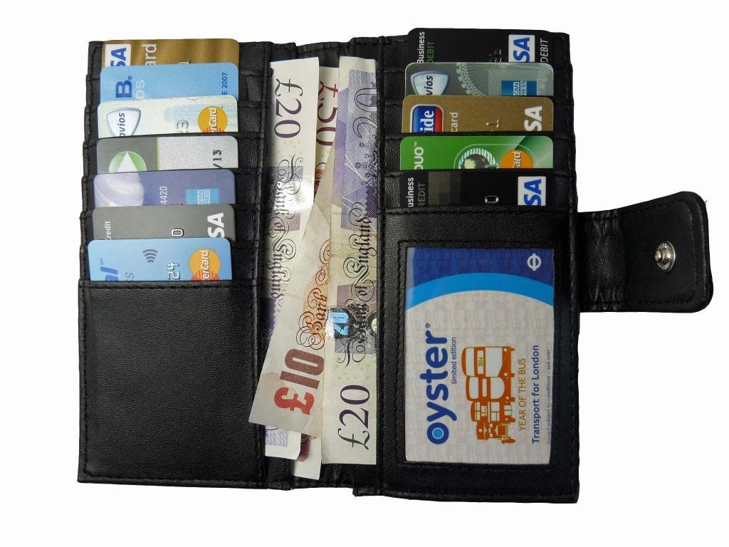 Large Purse Real Black Leather 12 Card 2 Coin Slots Framed Purses Quenchy QL209K (Black NO Gift Box)