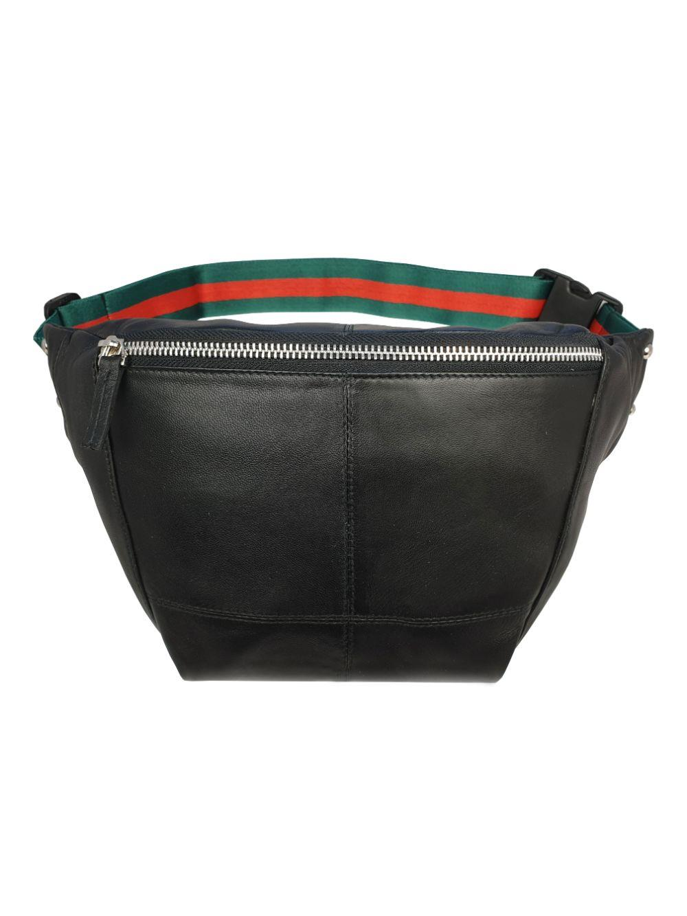 Gucci Style Black Leather Bumbag RL626KGU Front View