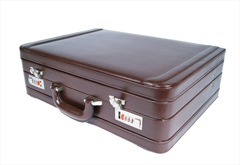 Leather DOUBLE expandable briefcase Brown RL318B flat view
