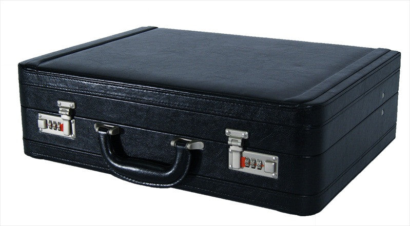 Leather DOUBLE expandable briefcase Black RL318K flat view