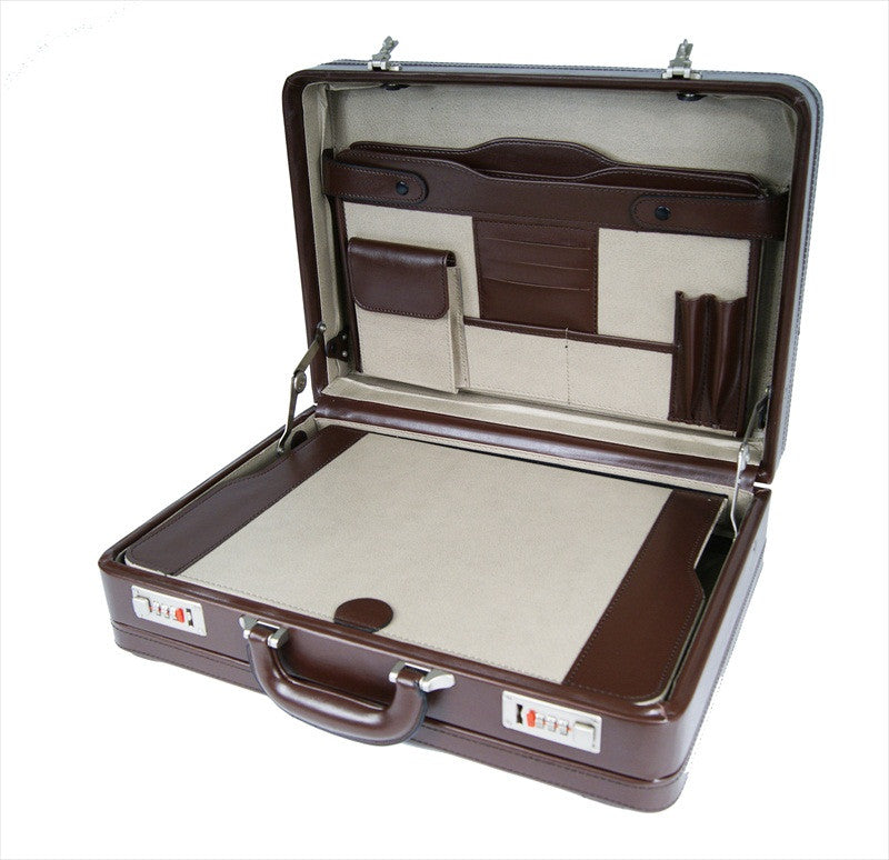 Leather DOUBLE expandable briefcase Brown RL318B inside view