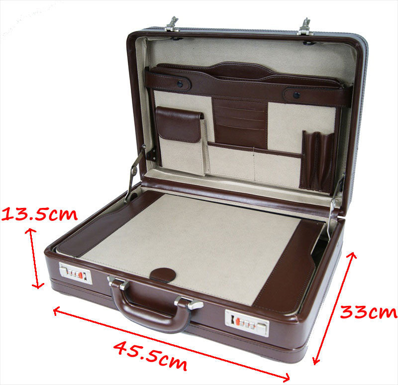 Leather DOUBLE expandable briefcase Brown RL318B tech view