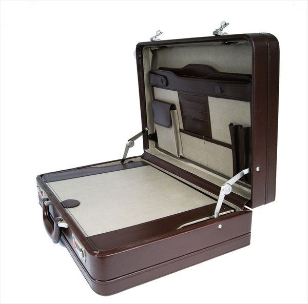 Leather DOUBLE expandable briefcase Brown RL318B inside view 3