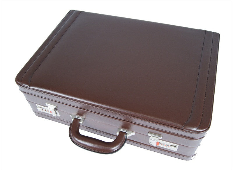Leather DOUBLE expandable briefcase Brown RL318B flat view 2