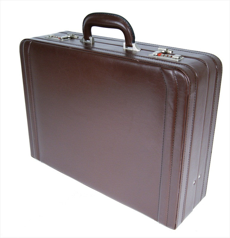 Leather DOUBLE expandable briefcase Brown RL318B upright view