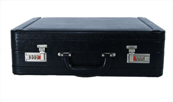 Leather DOUBLE expandable briefcase Black RL318K front view