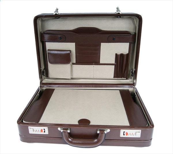 Leather DOUBLE expandable briefcase Brown RL318B inside view 2
