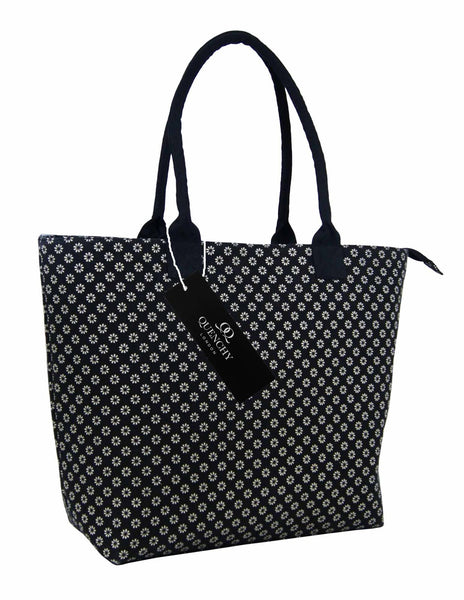 Canvas Shopping Tote Beach Bag Wallflower Black QL3155Ks