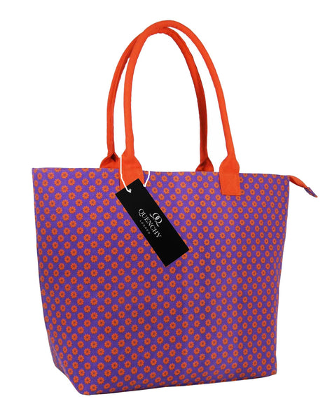 Canvas Shopping Tote Beach Bag Wallflower Purple QL3155Pus