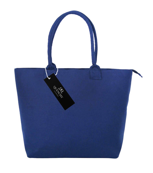 Canvas Shopping Tote Beach Bag Denim Navy Blue QL3156Nf