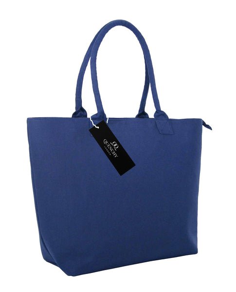 Canvas Shopping Tote Beach Bag Denim Navy Blue QL3156Ns