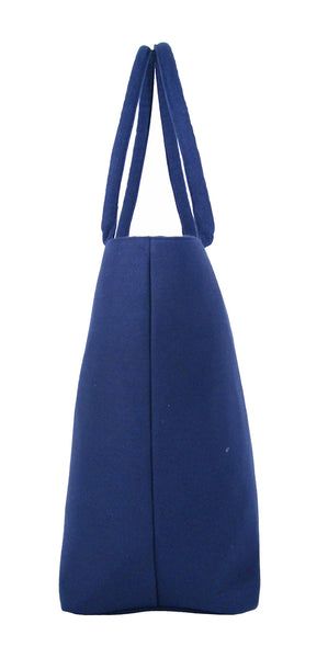 Canvas Shopping Tote Beach Bag Denim Navy Blue QL3156Ne