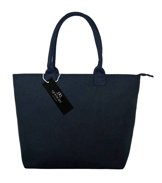 Canvas Shopping Tote Beach Bag Denim Black QL3156Kf
