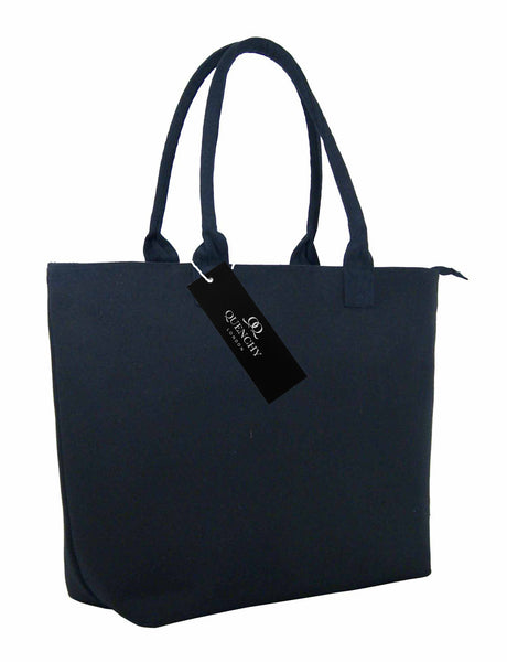 Canvas Shopping Tote Beach Bag Denim Black QL3156Ks