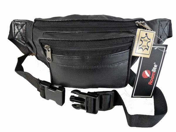 Leather Bumbag RL700K Black Front View