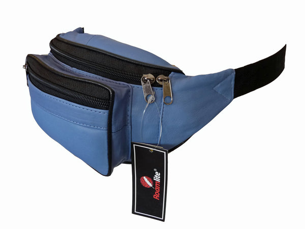 Leather Bumbag RL700LB Light Blue Side View