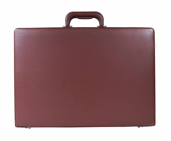Leather expandable briefcase Brown RL40B upright view