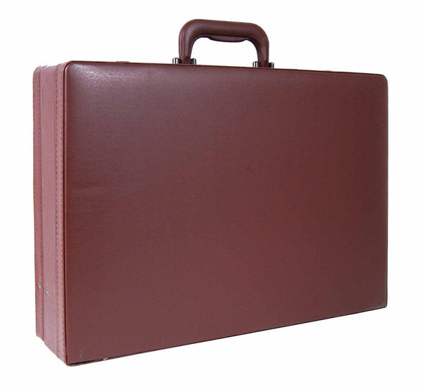 Leather expandable briefcase Brown RL40B side view